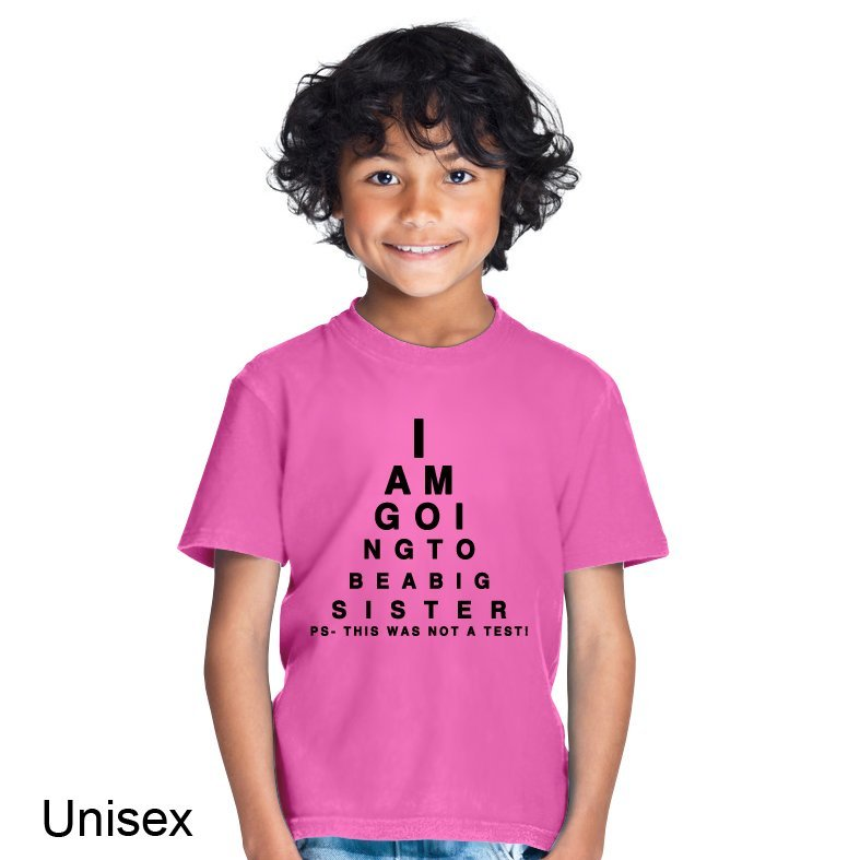 I am Going to Be a Big Sister Eye Test Children's T-shirt ...