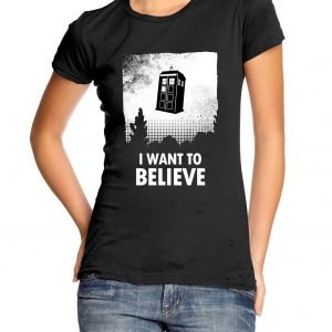 I Want to Believe Tardis Womens T-shirt