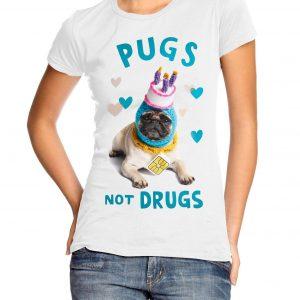 Pugs Not Drugs Womens T-shirt