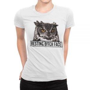 Owl Resting Bitch Face women's t-shirt
