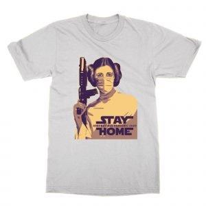 Princess Leia Stay Home Coronavirus Pandemic T-Shirt