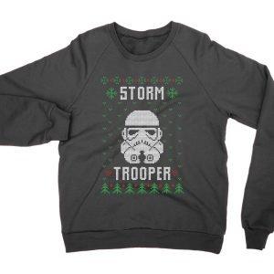Storm Trooper Helmet Christmas Ugly Sweater jumper (sweatshirt)